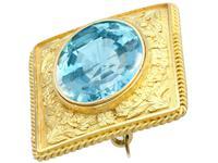 10.46ct Aquamarine & 18ct Yellow Gold Brooch - Antique c.1900 (8 of 9)