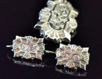 Victorian Silver Demi Parure, Earrings & Brooch (5 of 14)