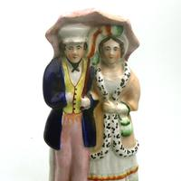 19th Century Pottery Victorian Staffordshire Courting Couple Figure (2 of 9)