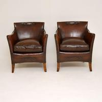 Pair of Antique Swedish Leather Armchairs (5 of 12)