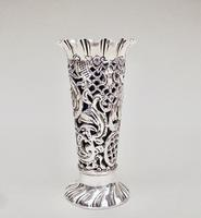 Small Pierced Victorian Silver Spill Vase by M Bros, Sheffield 1899 (2 of 6)