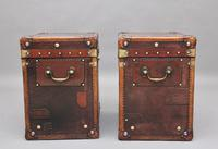 Pair of Early 20th Century Leather Bound & Painted ex Army Trunks (8 of 10)