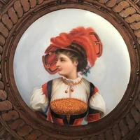 19th Century Hand Painted  Circular Porcelain Framed Plaque (2 of 5)