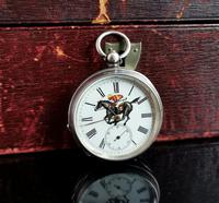 Victorian Silver Pocket Watch, Enamelled, Horse Racing (4 of 10)