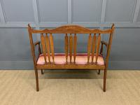 Arts & Crafts Inlaid Oak Bench (12 of 12)