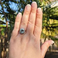 Vintage 18ct Gold Aquamarine & Diamond Cluster Ring, 18k Dress Cocktail Statement (4 of 12)