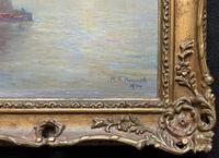 W. H. Renwick Small Edwardian Moonlit Sailing Seascape Oil Painting (10 of 11)