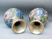 Pretty Pair of Chinese Cloisonne Champleve Vases (9 of 9)