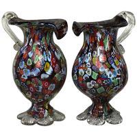 2 Italian Murano 20th Century Fratelli & Torso Millefiori Glass Vases