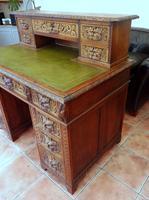 Country Oak Lions Head Pedestal Desk 1860 (8 of 12)