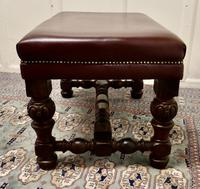Large Victorian Oak & Leather Library Stool (5 of 6)