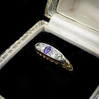 Antique Amethyst Peridot and Diamond Scroll Boat 18ct Yellow Gold Ring (3 of 10)