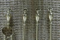 Tall Edwardian 5 Piece on Stand Brass Companion Set  Fire-irons Reg Number for 1906 (5 of 10)