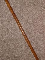 Antique Malacca Walking Stick/Cane With Bovine Bone Teardrop Handle & Silver Collar (7 of 11)