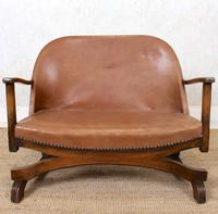 Carved Oak Leather Bucket Sofa & Chair (3 of 24)