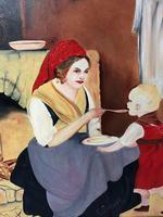 Oil Folk Art Painting Dutch Mother In Kitchen Feeding Her Child (9 of 13)