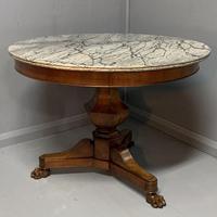 Grey Marble Top Walnut Gueridon Centre Table