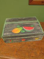 Shabby Chic Folk Art Painted Writing Slope Box with Fruit, Recipe Storage (9 of 14)