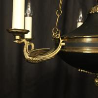 French Gilded Brass Empire 6 Light Antique Chandelier (8 of 10)