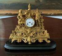 Large Superb Original 19th Century Glass Domed Gilt Mantle Clock For Minor Tlc (4 of 14)