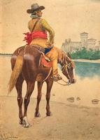 Exceptional Quality 19th Century Miniature Watercolour Painting of Horseman - Cowboy (6 of 11)