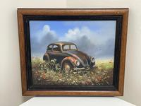 """Oil Painting """"Unloved Abandoned VW Beetle Car"""" Signed David Robert (2 of 27)"""