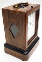 Fine French Officers 8-day Mantel Clock – Rosewood Case With Satinwood Inlay (8 of 13)