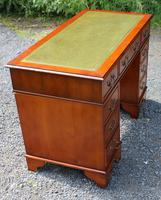 1960s Yew Wood Pedestal Desk with Green Leather Top (4 of 5)