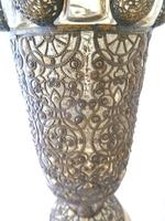 19th Century Bohemian / Moser ? Large Covered Goblet with Filigree Metalwork Overlay (11 of 11)