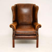 Antique Georgian Style Leather Wing Back Armchair (4 of 11)