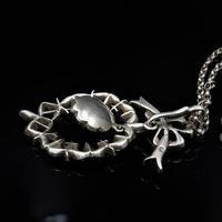 Antique Paste Bow Sterling Silver Drop Pendant and Chain Necklace (4 of 9)