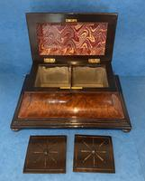 Victorian Burr Cedar & Ebony Shaped Tea Caddy (16 of 20)