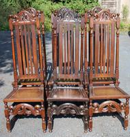1900's Set 6 Carved Highback Oak Dining Chairs -carolean Style