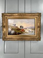 Antique Victorian river landscape oil painting study of cows 1 of 2 (2 of 10)