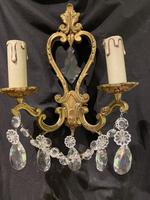 Pair of Heart Shaped French Antique Brass Wall Lights (2 of 13)