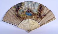 Rare Mid 18th Century French Watercolour with Sold Silver Pique Work Hand Fan (11 of 12)
