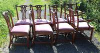 1960's Set of 8 Chippendale Style Dining Chairs 6+2 Carvers (2 of 3)