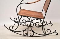 Antique Wrought Iron & Leather Rocking Chair (2 of 12)