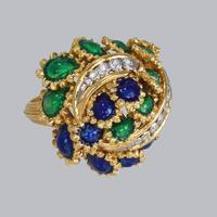Vintage Diamond and Blue & Green Enamel Ring 18ct Gold Bombé Ring (11 of 21)