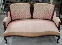 1920s Mahogany 2 Seater Sofa in Pink with Brass Inlay in Panel