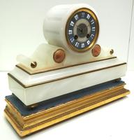 Fine Antique French Alabaster Mantel Clock – Blue Painted Dial 8-day Striking Mantle Clock (6 of 8)