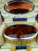 Antique Sterling Silver Hallmarked Cased Faux Tortoise Shell Brush & Comb Set with Mirror 1926 (2 of 12)