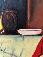 Oil Folk Art Painting Dutch Mother In Kitchen Feeding Her Child (11 of 13)