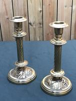 Pair of Victorian Brass Candlesticks with Hunting Scene Bases (3 of 6)