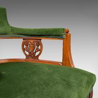 Antique Tub Chair, English, Velvet, Mahogany, Elbow, Seat, Edwardian c.1910 (10 of 12)