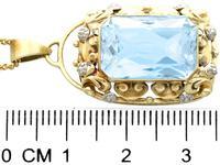 10.46ct Aquamarine & 14ct Yellow Gold Pendant - Vintage c.1940 (6 of 10)