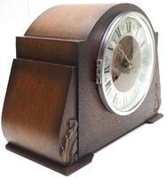 Good Art Deco Oak Mantel Clock – Striking 8-day Arched Top Mantle Clock (5 of 9)
