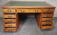 Large Yew Twin Pedestal Leather Top Desk (9 of 10)