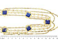 5.55ct Lapis Lazuli & 18ct Yellow Gold Necklace - Antique Victorian c.1870 (8 of 12)