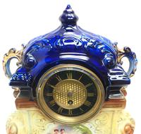 Antique 8-day Porcelain Mantel Clock Classical Blue & Earth Glazed French Mantle Clock (8 of 12)